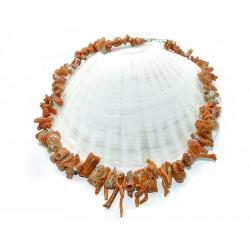 Collana corallo grezzo con chiusura argento 925/1000