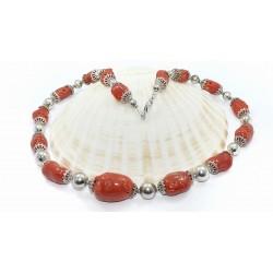 Collana corallo rosso e argento